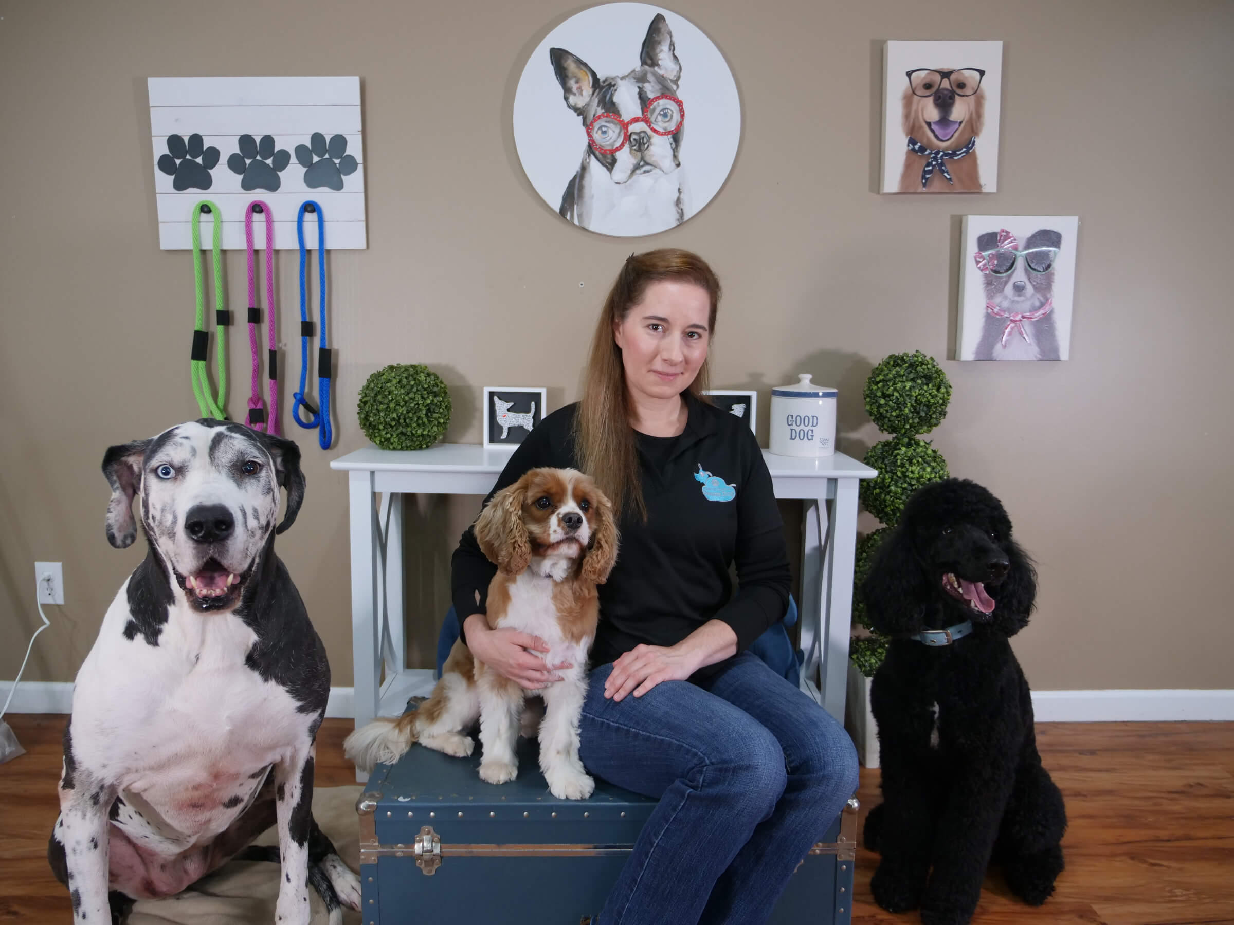 Michele Lennon with her dream dogs